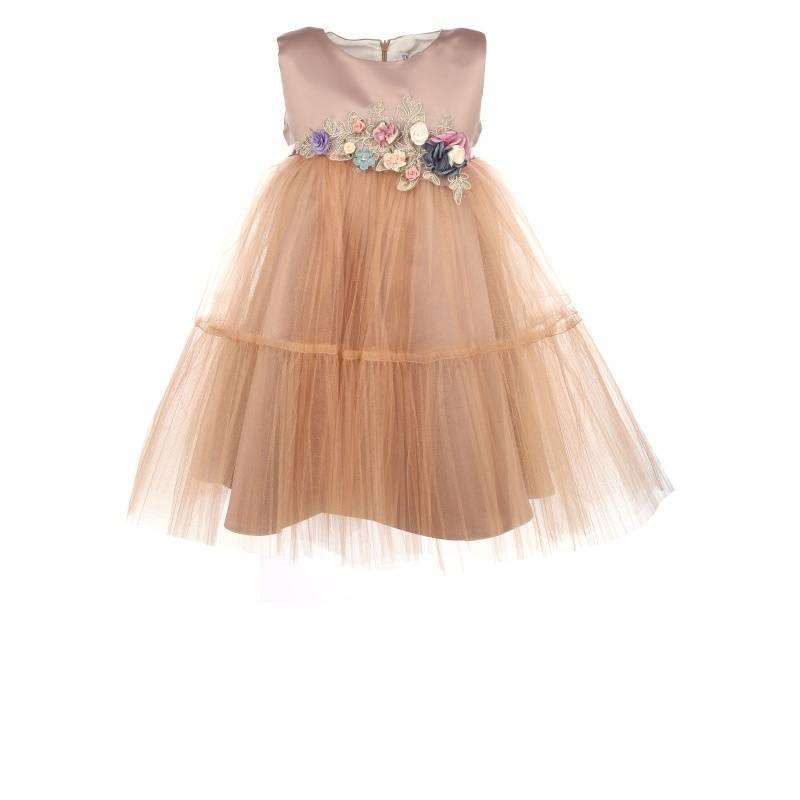 Купить 1580, Платье Ангел-плиссе UNONA D'ART, цв. оранжевый, 122 р-р, Платья для девочек