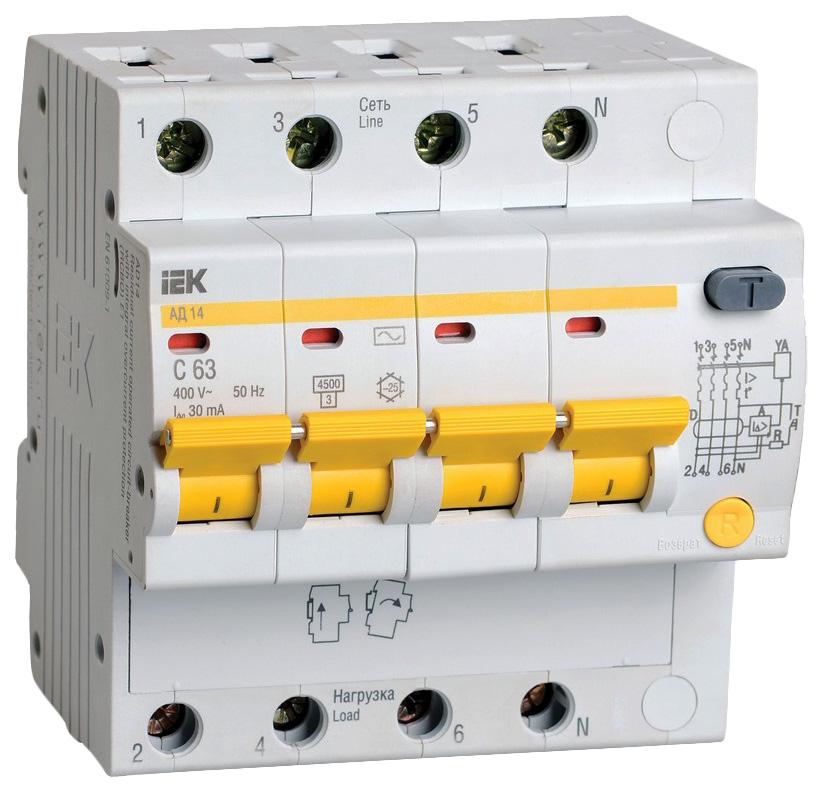 Выключатель автоматический АД-14, 4 п, 16 А, 30 мА, АС, 4,5 кА, MAD10-4-016-C-030 фото