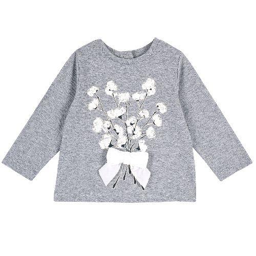 Купить 9006808, Лонгслив Chicco Букет для девочек р.74 цв.серый, Кофточки, футболки для новорожденных