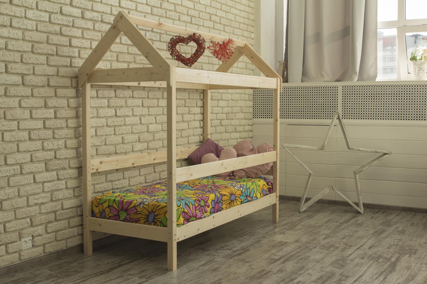Детская кровать-домик Green Mebel Домик / Вингс Натуральный, 700 Х 1600 мм