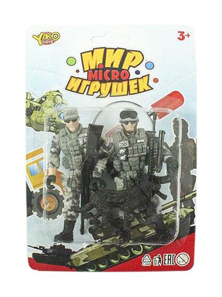 Набор игровой военный Yako Toys с 2 солдатиками и собакой Мир micro Игрушек M7599-7
