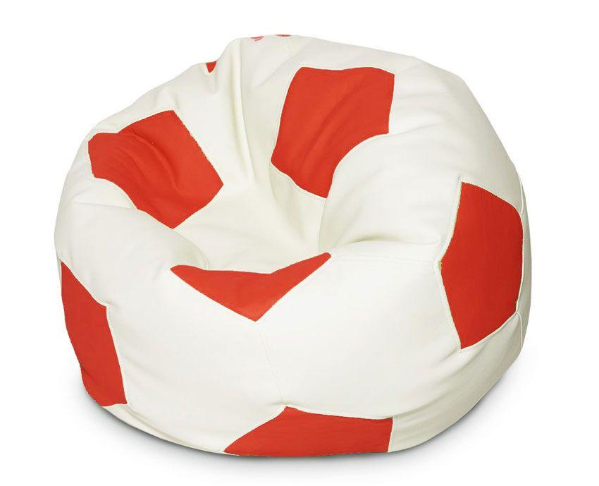 Кресло-мяч Папа Пуф Мяч, размер XL, экокожа, красно-белый фото