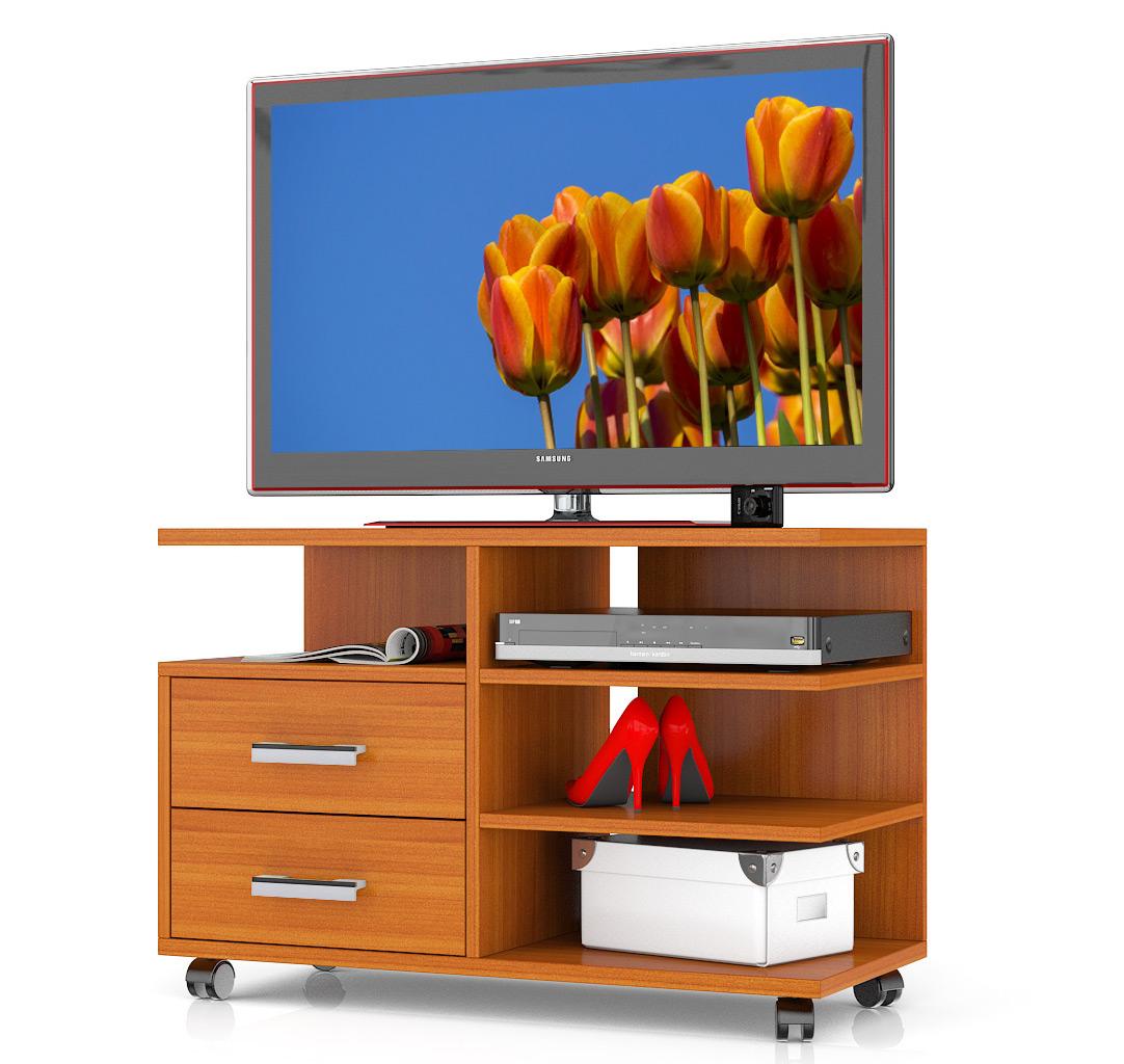 Тумба под телевизор выкатная Мебельный Двор Т6 90х40х61 см, вишня