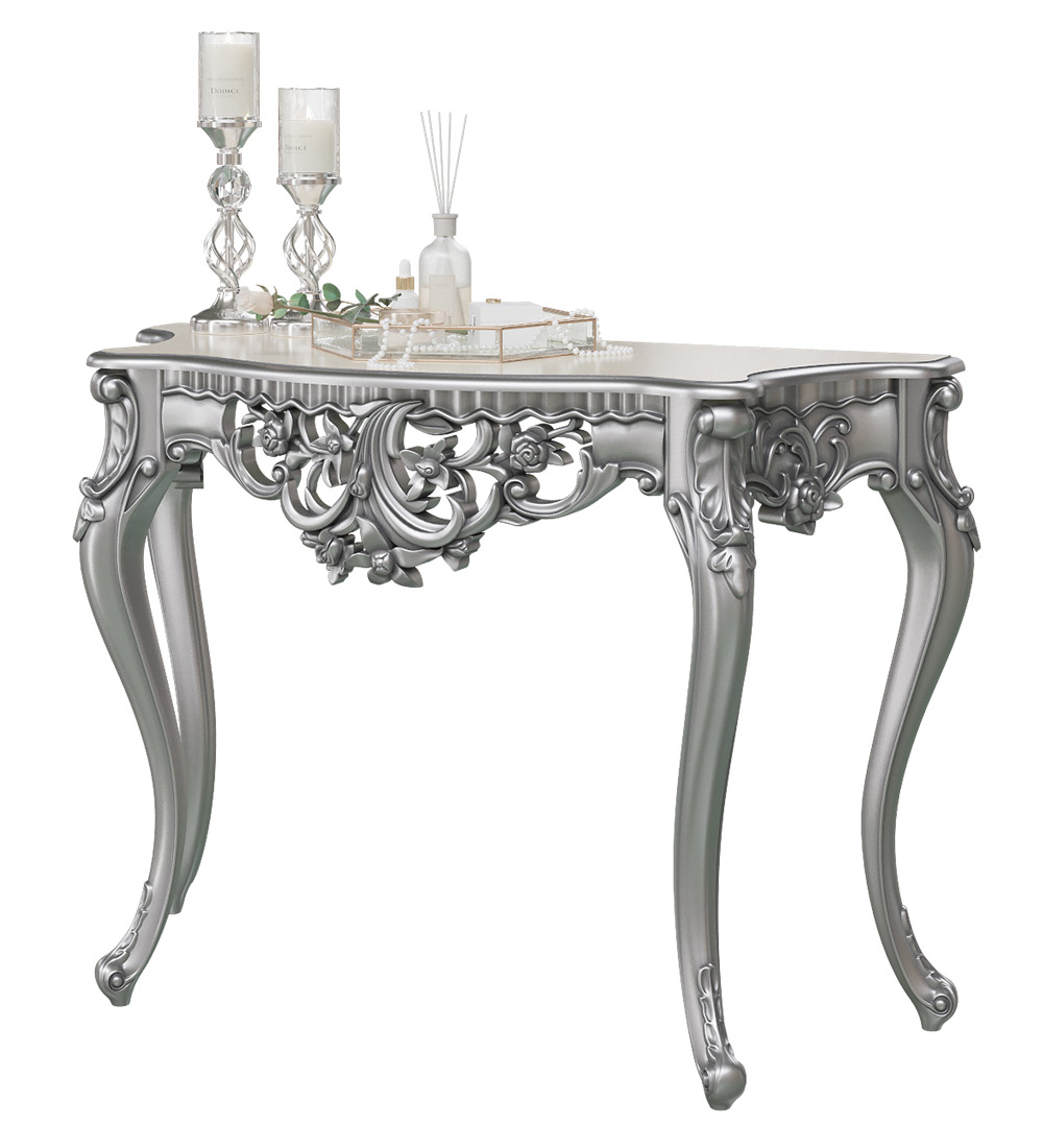 Консоль Мэри-Мебель КН-01, цвет серебро, 122х48х82 см. фото