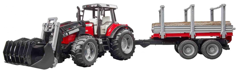 Трактор Massey Ferguson, c манипулятором и прицепом, Bruder,  - купить со скидкой