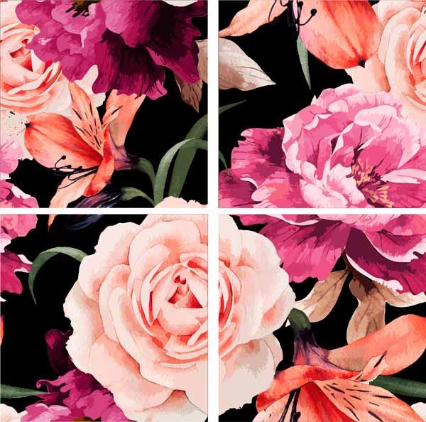 Модульная картина на холсте 80x80 Розы Ekoramka HE-107-271 по цене 2 490