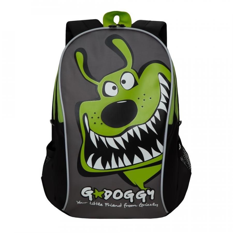 Купить Детский рюкзак Grizzly RK-079-3/3 черный - салатовый, Школьные сумки