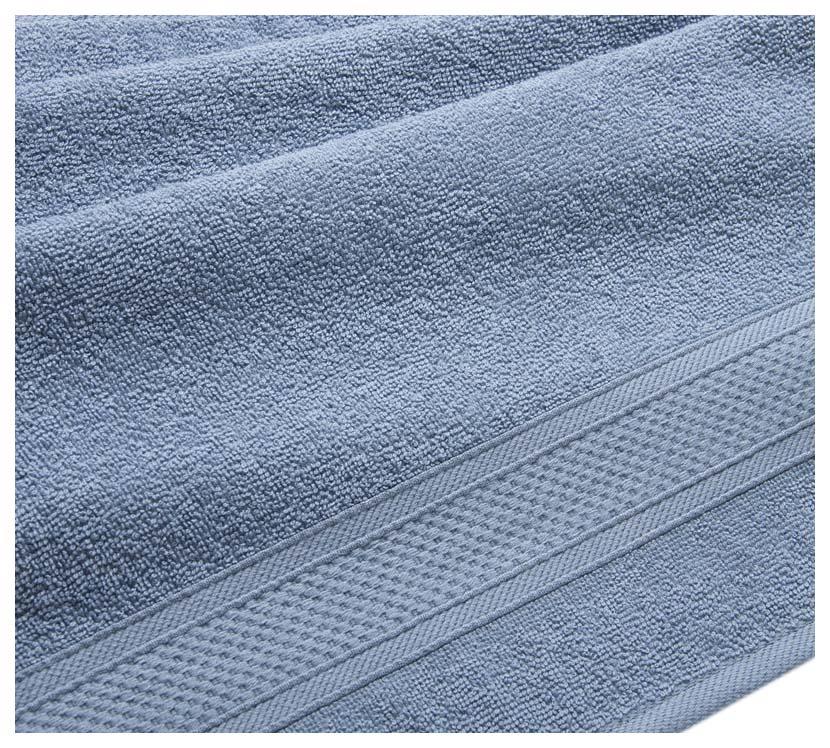 Полотенце махровое с бордюром (серо-голубое) 100х180