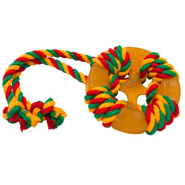 Жевательная игрушка для собак DOGLIKE Кольцо Космос с этикеткой и канатом, 13 см