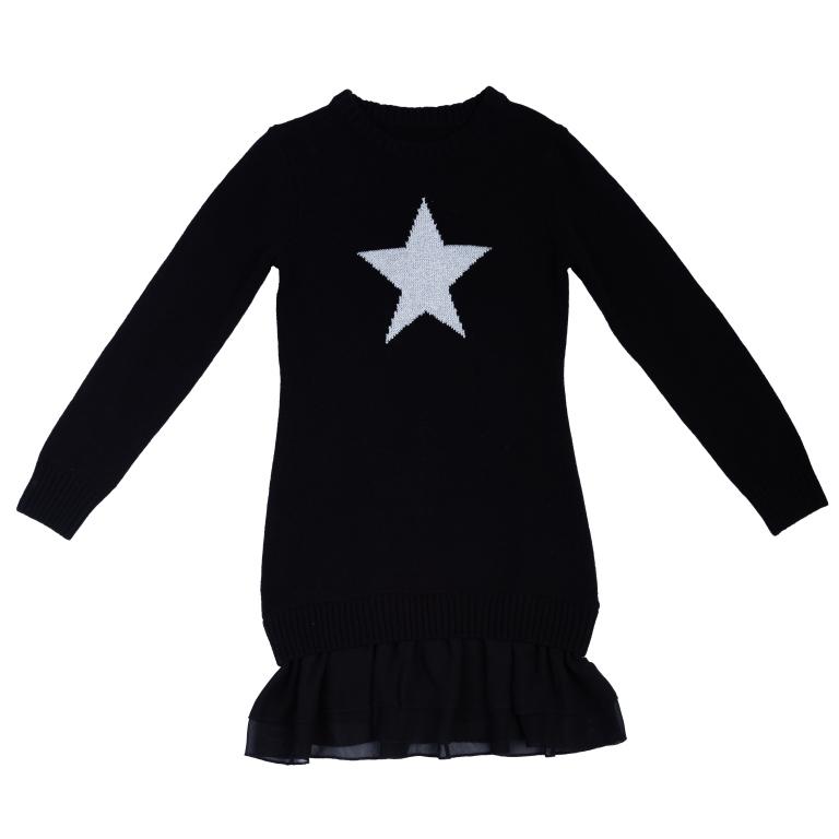Купить Платье S'cool трикотажное для девочек р.140, 364137 черный, S'Cool, Детские платья и сарафаны
