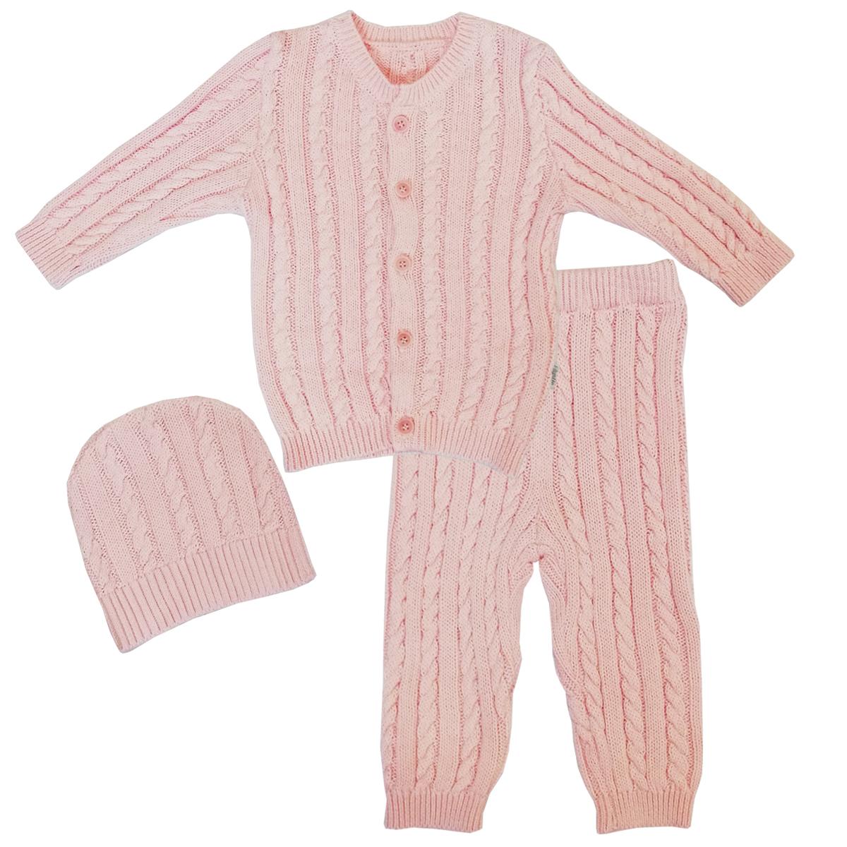 Купить Комплект детский 3 пр. Папитто вязаный Розовый 73-9006 р.22-74, Комплекты для новорожденных