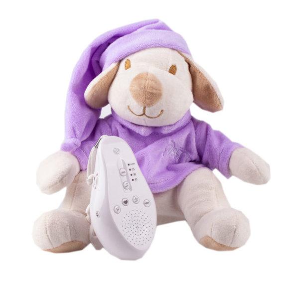Купить Игрушка-комфортер Собачка DrЁma BabyDou для сна, с белым и розовым шумом, лиловый, Drёma babydou, Комфортеры для новорожденных