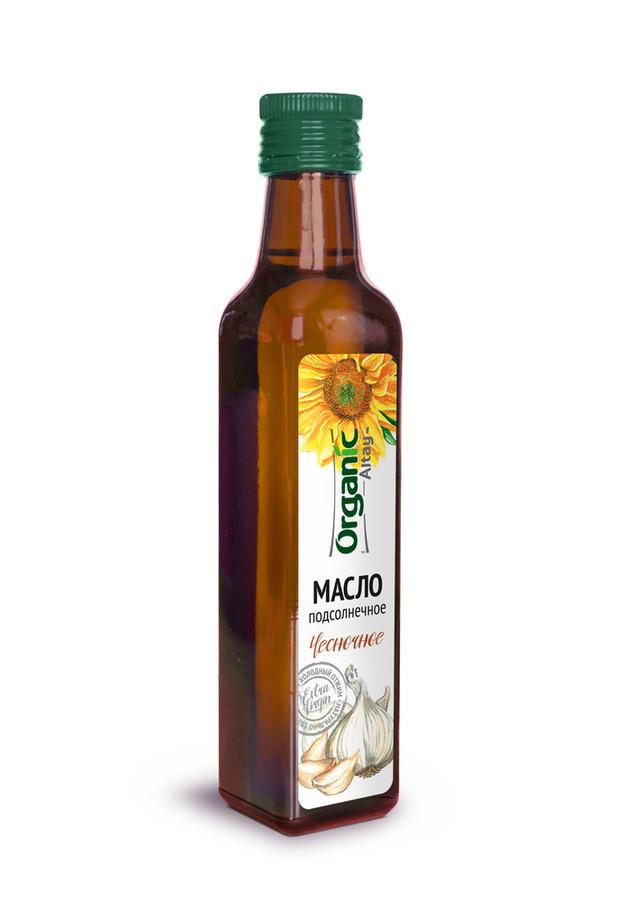 Масло пищевое Organic Life нерафинированное подсолнечное чесночное 250 мл