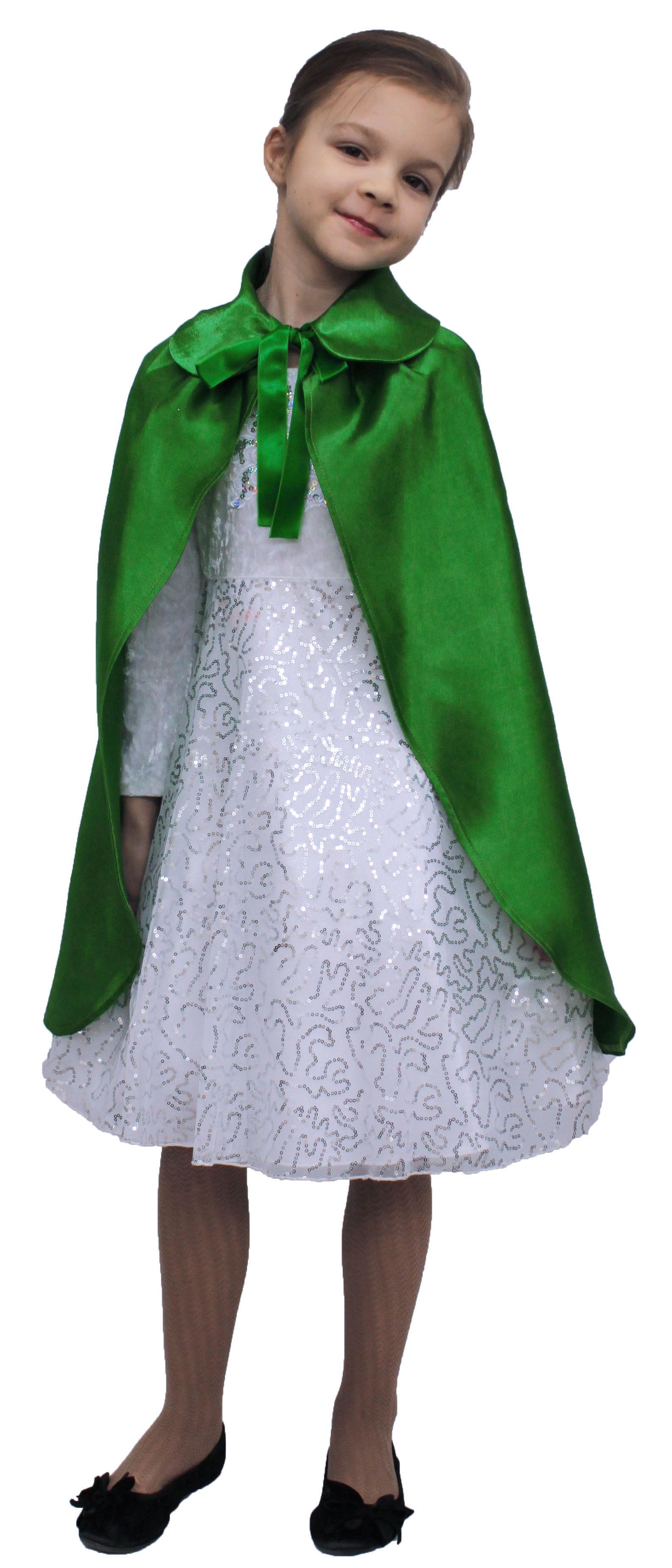 Купить Плащ зеленый длинный с воротником детский Птица Феникс p1034,