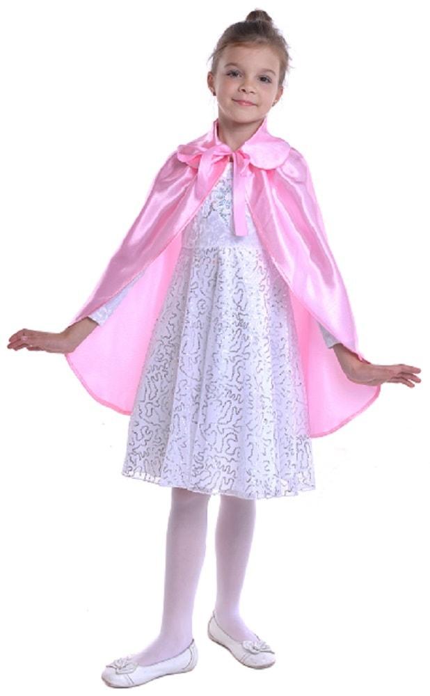 Купить Розовый атласный плащ с воротником детский Птица Феникс p1046,