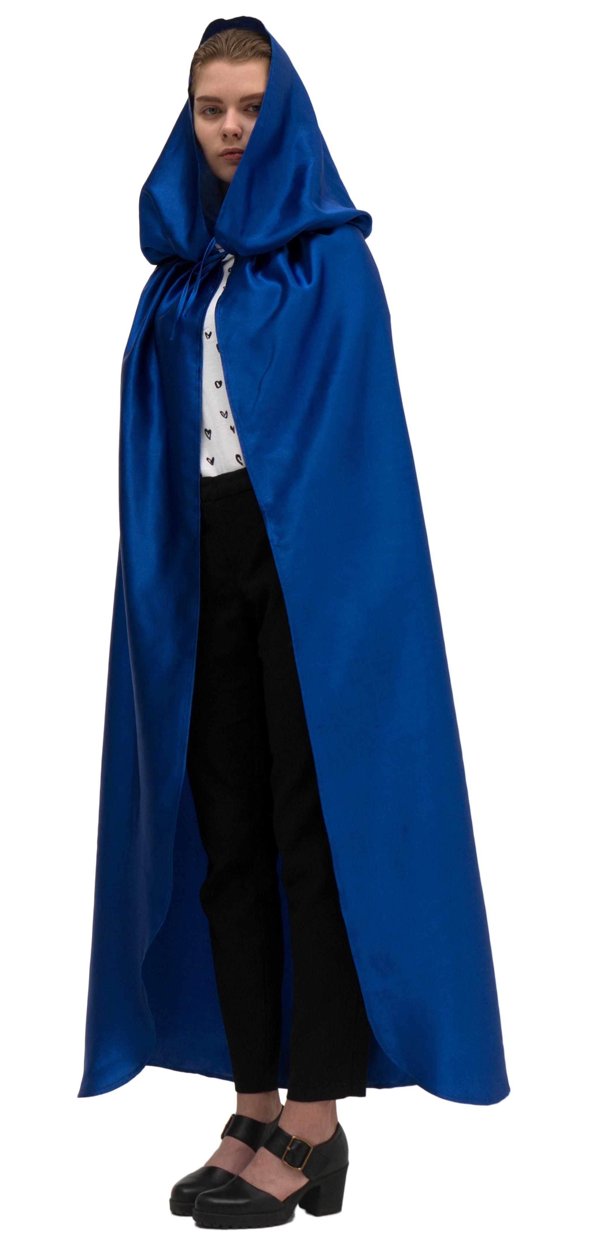 Купить Синий атласный плащ с капюшоном Птица Феникс p1006,