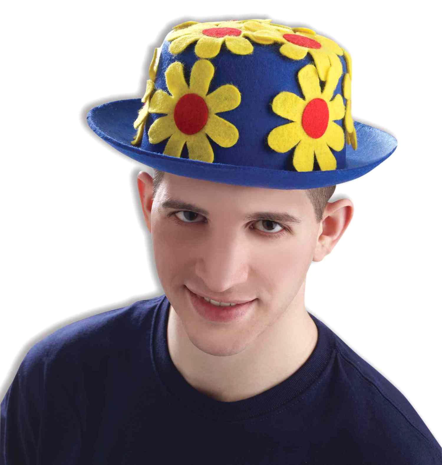Купить Шляпа клоунская с цветами синяя Forum Novelties f65598,