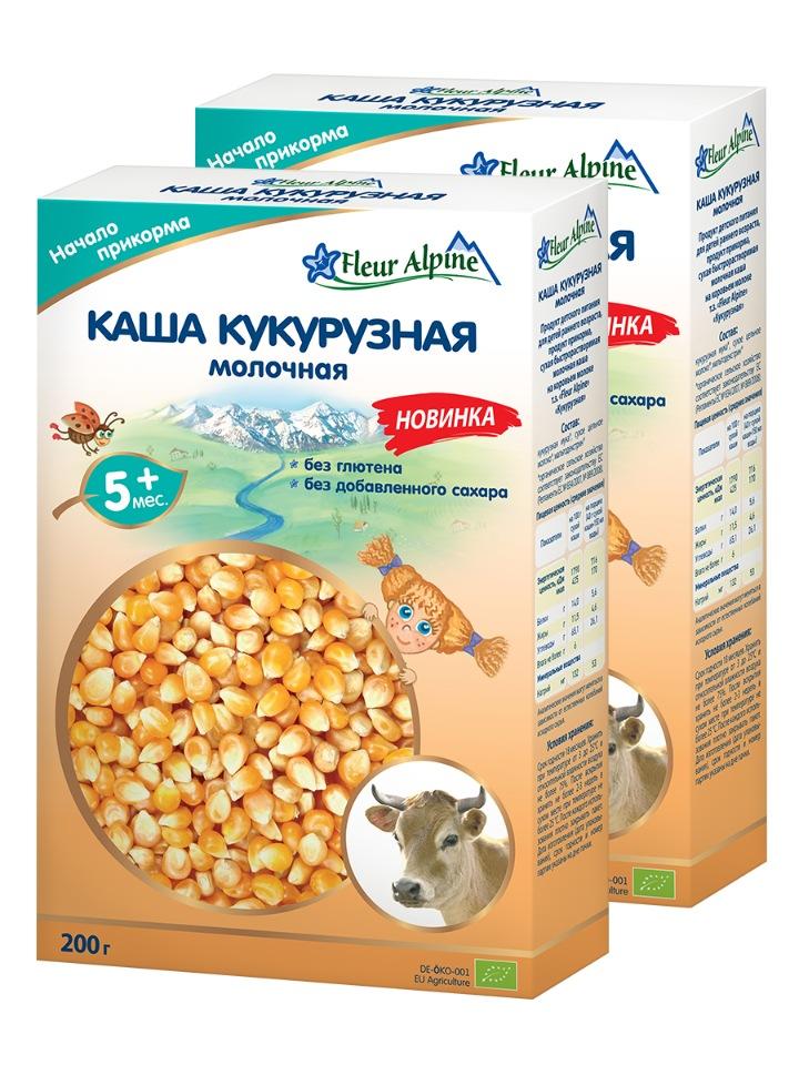 Купить Каша Fleur Alpine молочная кукурузная 200г с 5месяцев 2 шт.,