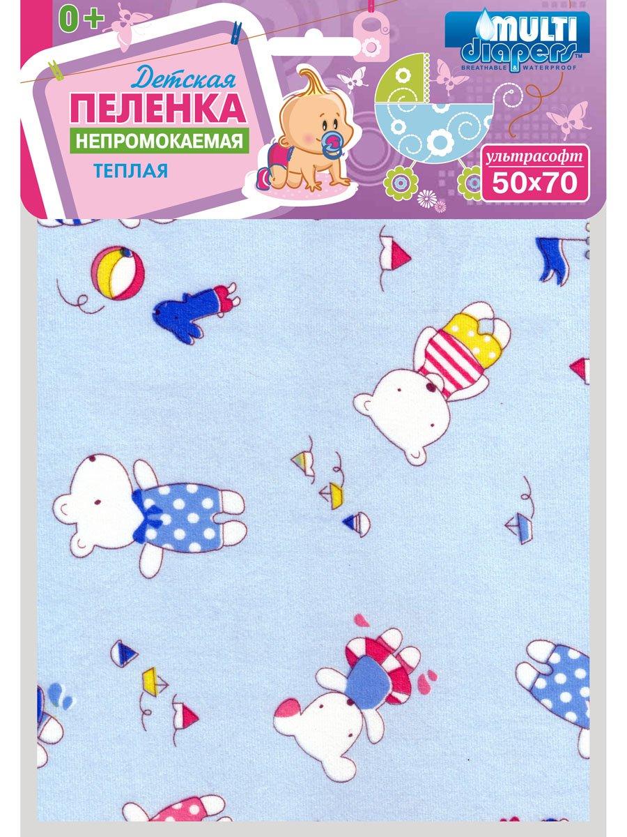 Купить Пелёнка Multi Diapers непромокаемая, тёплая, для коляски, 50х70 см, Мишки на голубом, Multi-diapers,