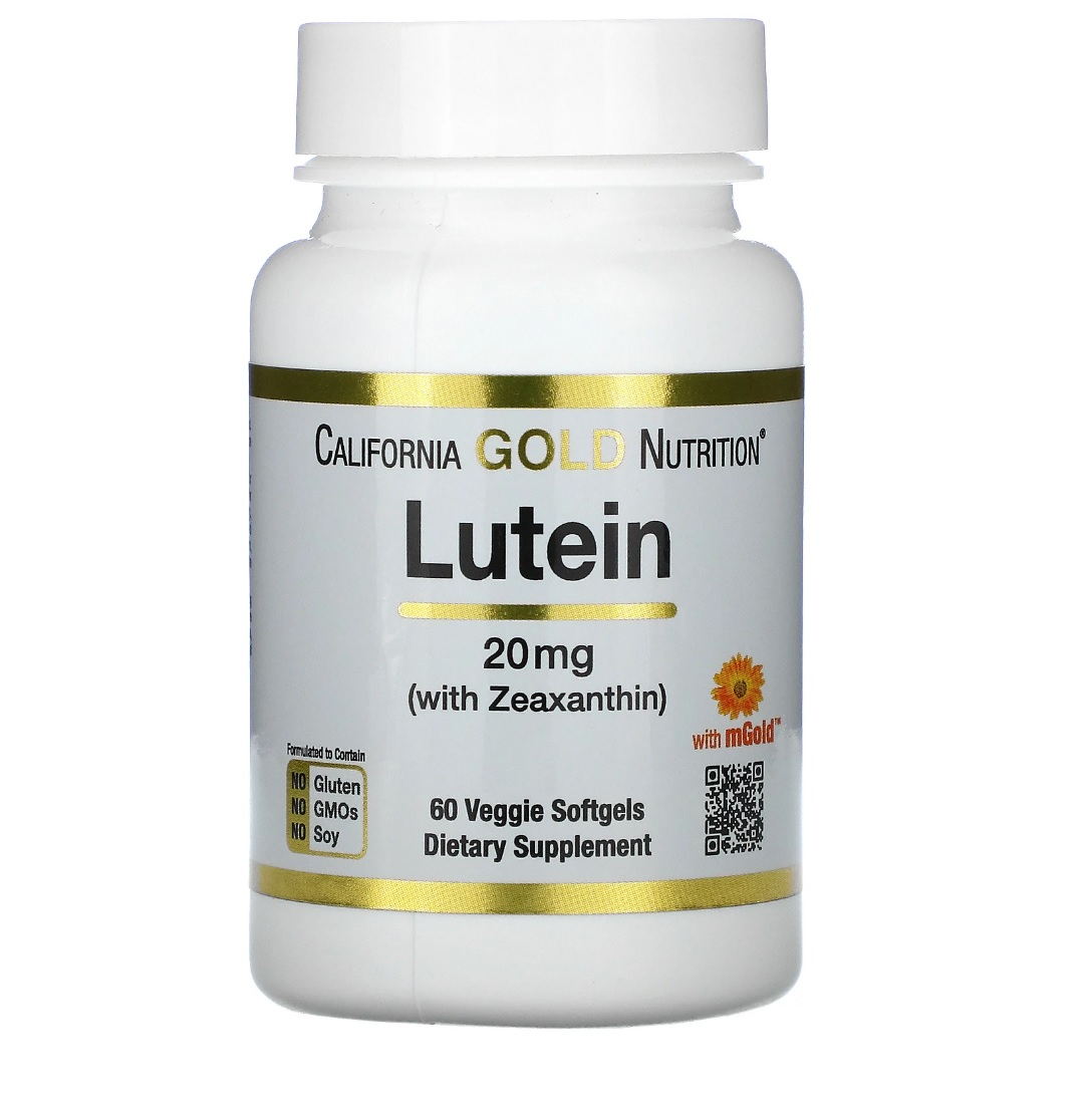 Купить Lutein with Zeaxanthin California Gold Nutrition 20 мг капсулы 60 шт.