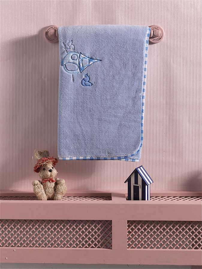 Купить Плед хлопок/велюр Kidboo Lovely Birds Blue, 80x90 см,