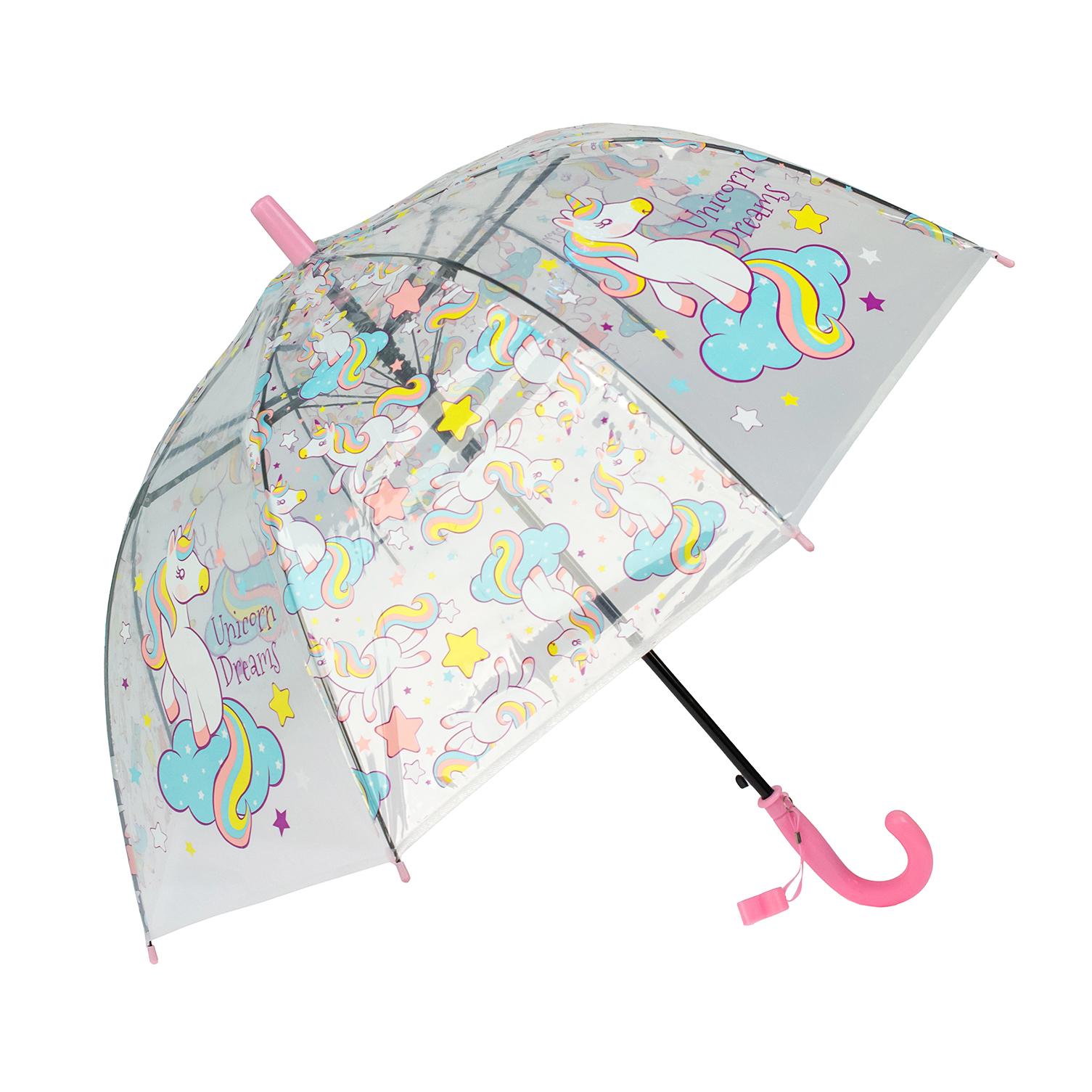 Зонт детский Rain Lucky для девочек Единороги со свистком, светло-розовый