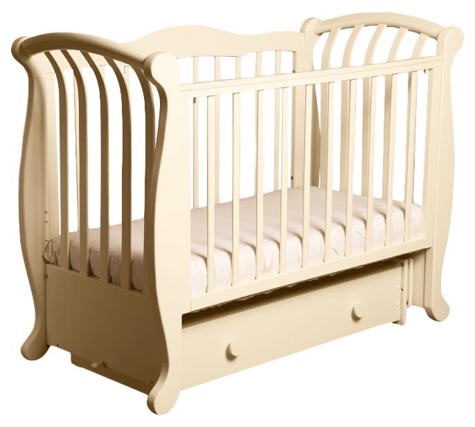 Купить Кроватка детская Лель Магнолия с поперечным маятником слоновая кость,