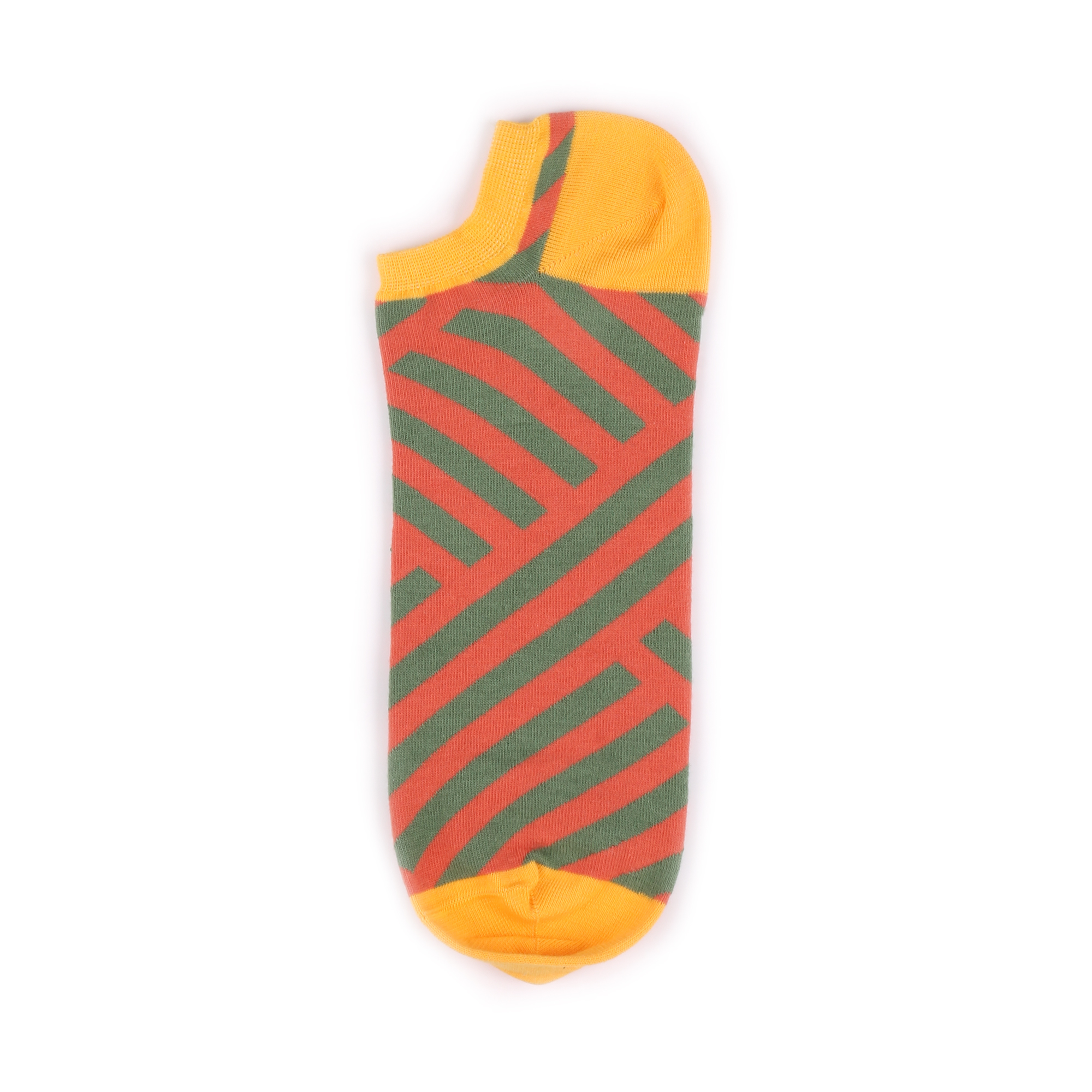 Носки унисекс Sammy icon BHAnkleStripe_Green_Orange разноцветные 42-46
