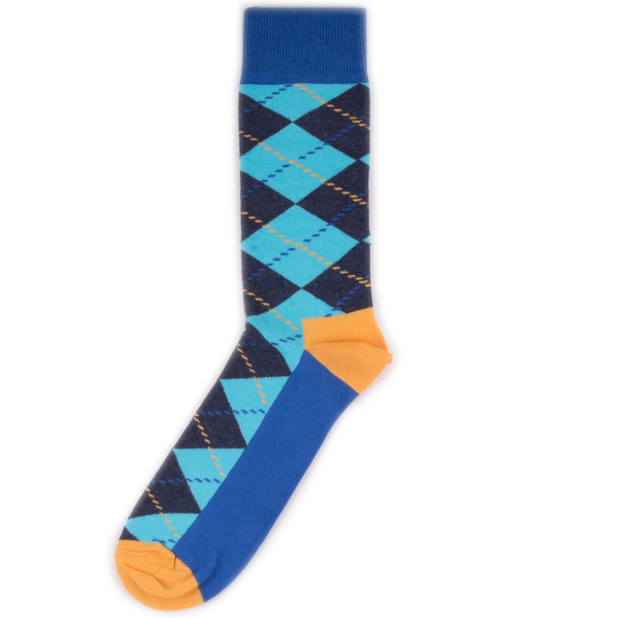 Носки унисекс Happy Socks Happy Socks Argyle - Blue/Orange разноцветные 36-40