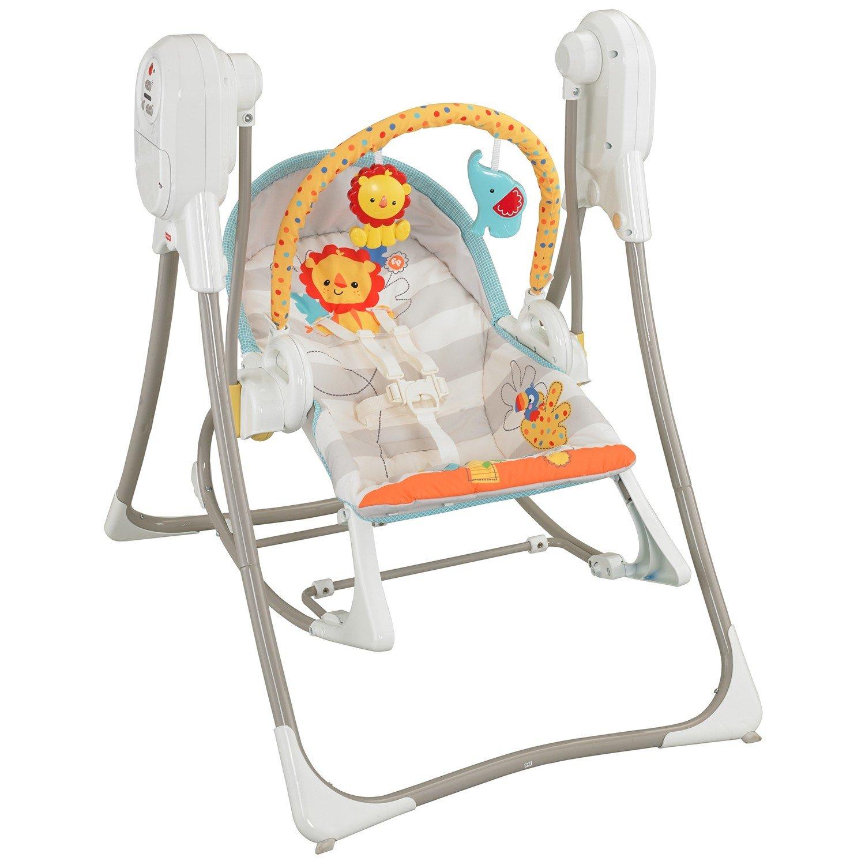 """Mattel Fisher-Price® Качели и кресло-качалка 3-в-1 """"слоненок и львенок"""" BFH07"""