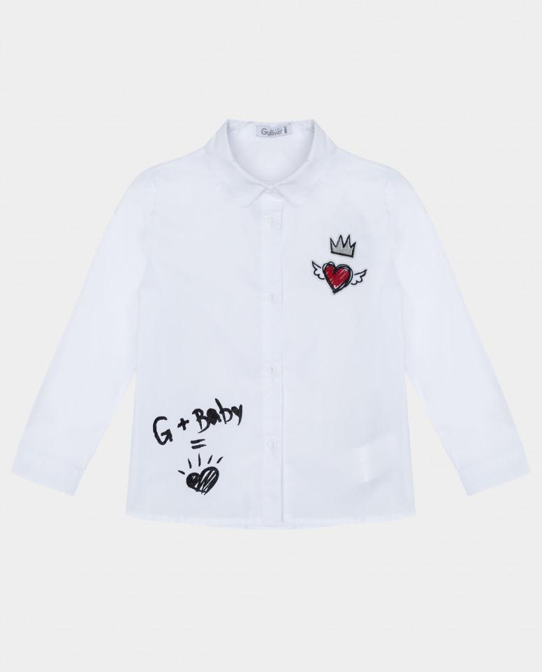 Белая рубашка с длинным рукавом Gulliver