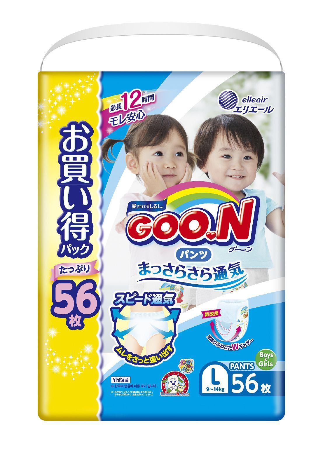 Купить Подгузники-трусики GOO.N L (9-14 кг), 56 шт., Goon,