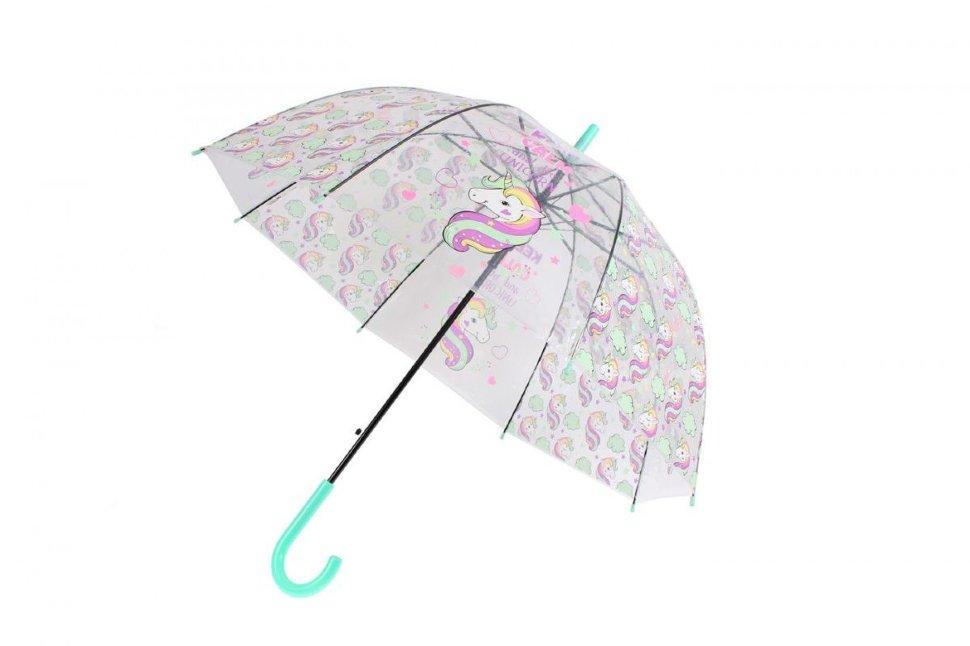 Зонт прозрачный Bradex Единорог, голубой