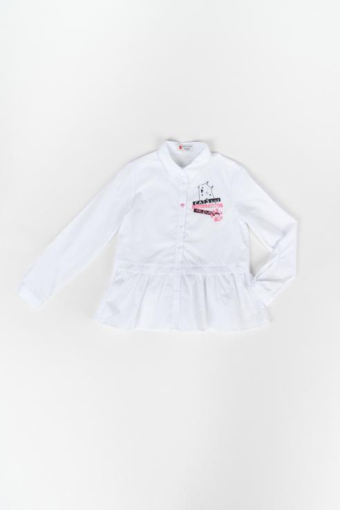219BBGC22010200, Блузка для девочки Button Blue, цв.белый, р-р 116,  - купить со скидкой