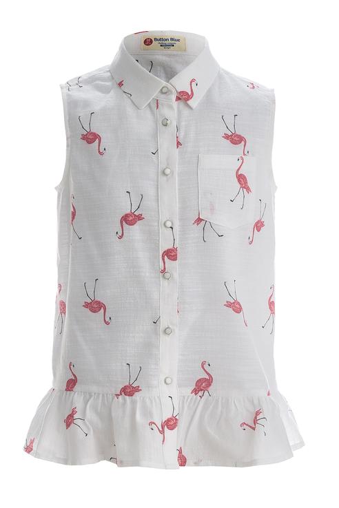 Купить 119BBGC22030213, Блузка для девочки Button Blue, цв.белый, р-р 116,