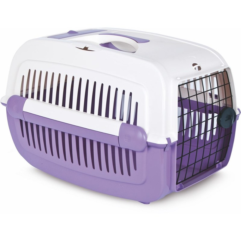 Переноска для животных Pet Inn Cosmos средняя с рисунком фиолетовая, 58,5х38х38,5см фото