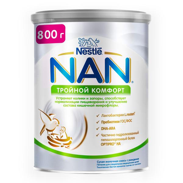 Купить Молочная смесь NAN 1 (от 0 до 6 мес.) Тройной комфорт 800 г, Детские смеси 1 (с рождения)