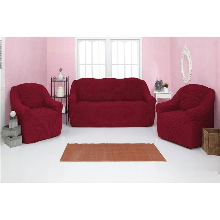 Комплект чехлов на диван и кресла без оборки CONCORDIA, бордовый, 3 предмета