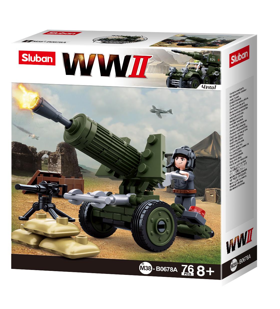 Конструктор Sluban Армия Вторая Мировая Война 4 в 1, 76 деталей