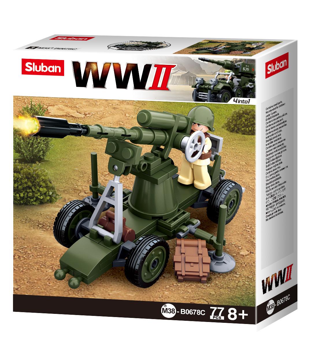 Конструктор Sluban Армия Вторая Мировая Война 4 в 1, 77 деталей