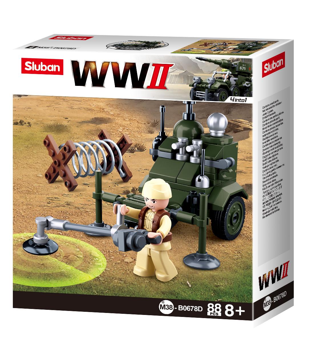 Конструктор Sluban Армия Вторая Мировая Война 4 в 1, 88 деталей
