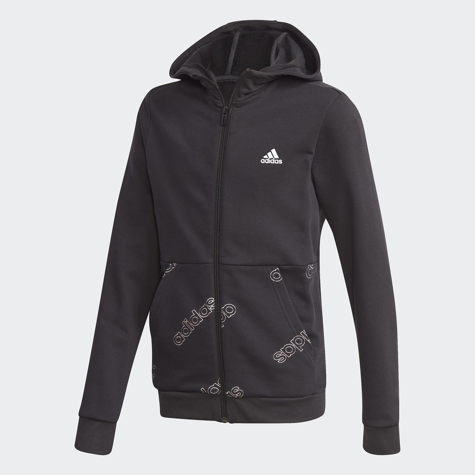 Толстовка Adidas Yb Fav Aop Full Zip GD6107 черный р.140