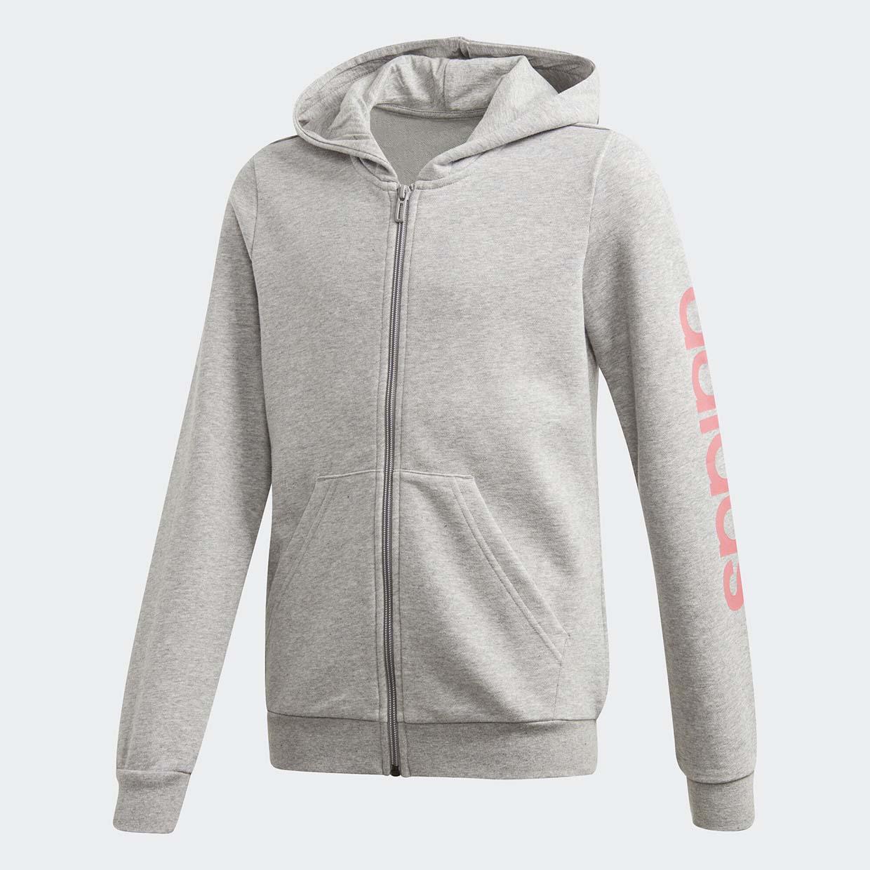 Толстовка Adidas Yg E Lin Full Zip Hooded GD6356 серый р.158