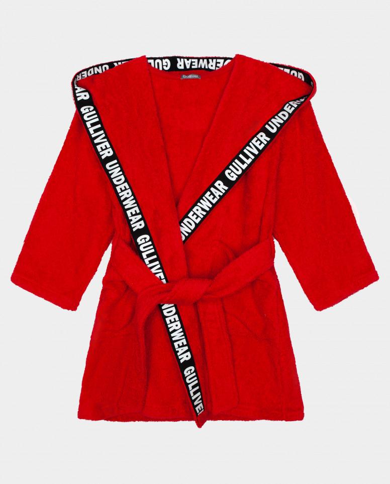 Красный халат Gulliver цв. красный 110 116