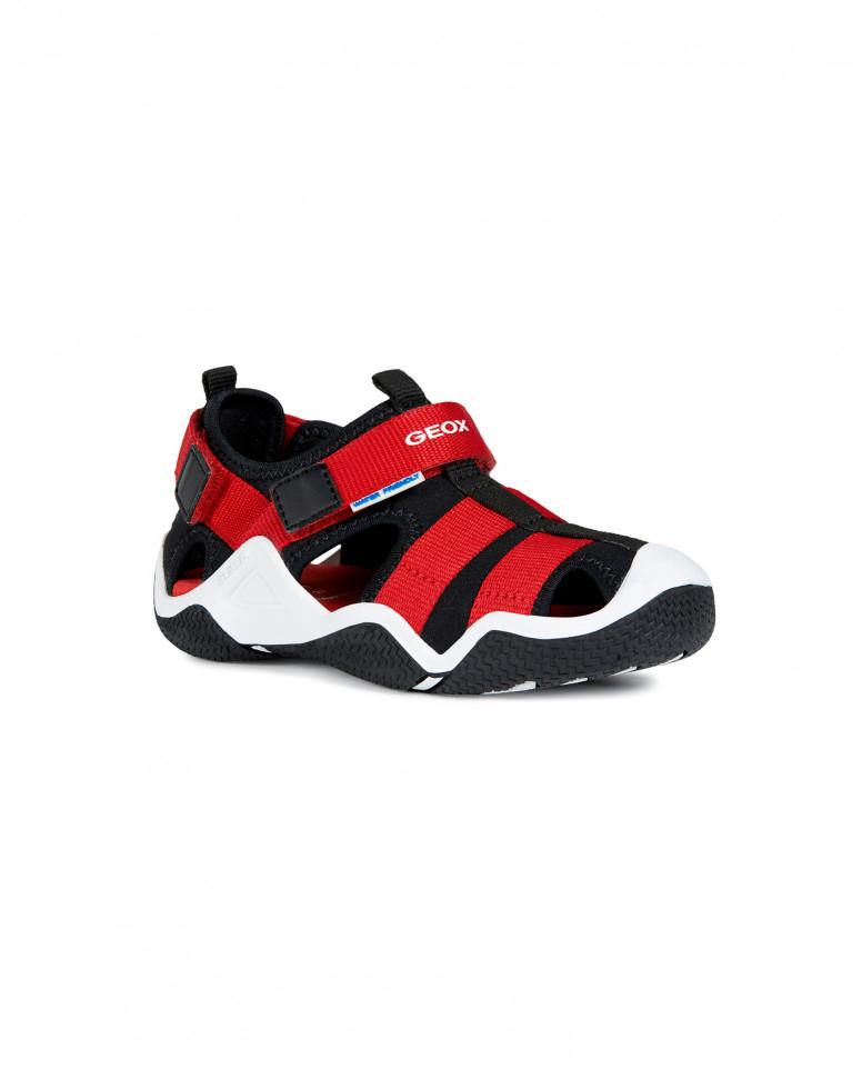 Купить J9230A01554C0048, Черно-красные сандалии Geox для мальчика цв. черный 35,