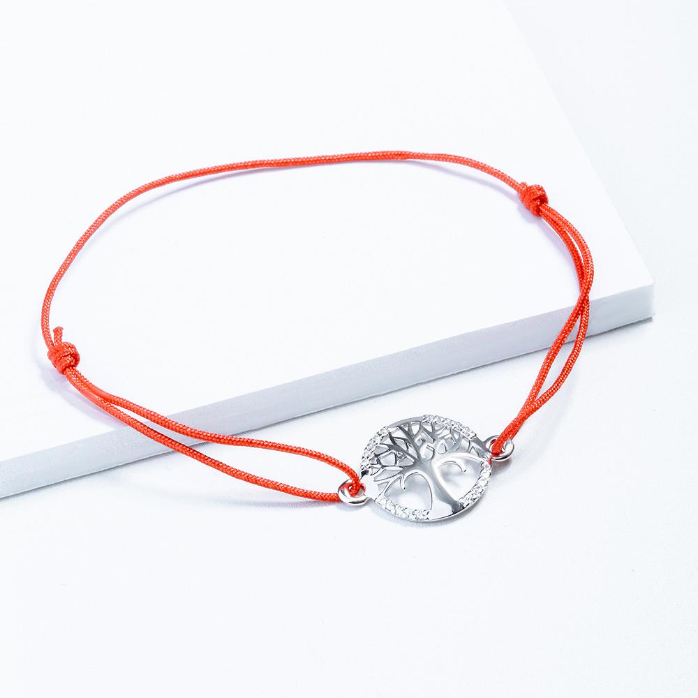 Браслет из серебра/текстиля с фианитом р.17 НАШЕ ЗОЛОТО ЮП1410010737