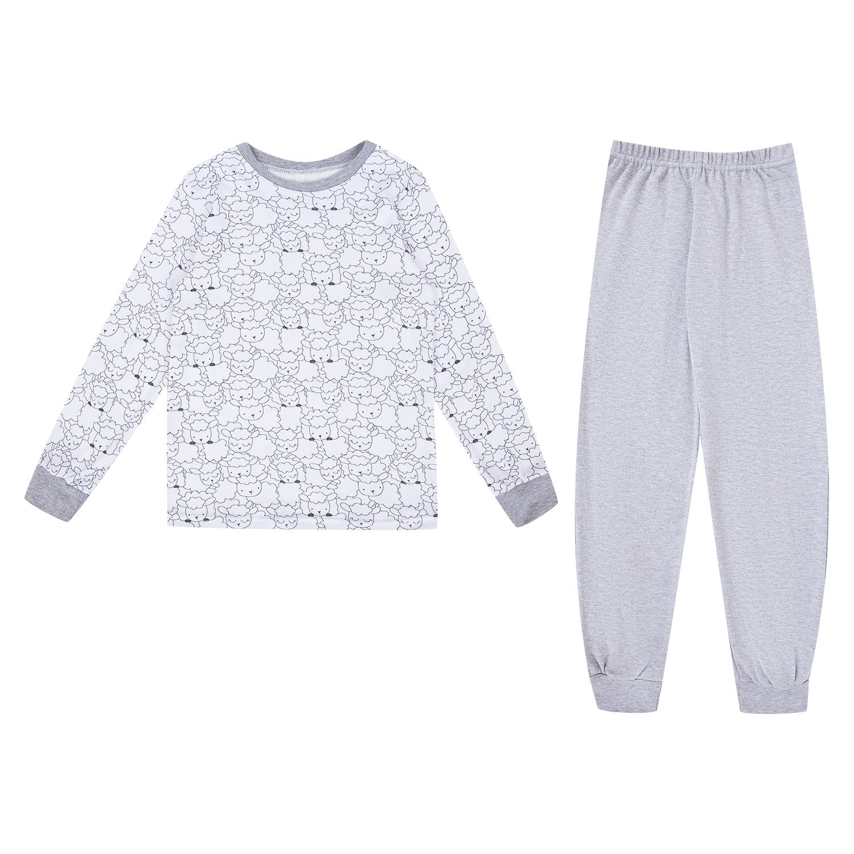 Купить GL000981532, Пижама джемпер/брюки Leader Kids серый/белый р.110,