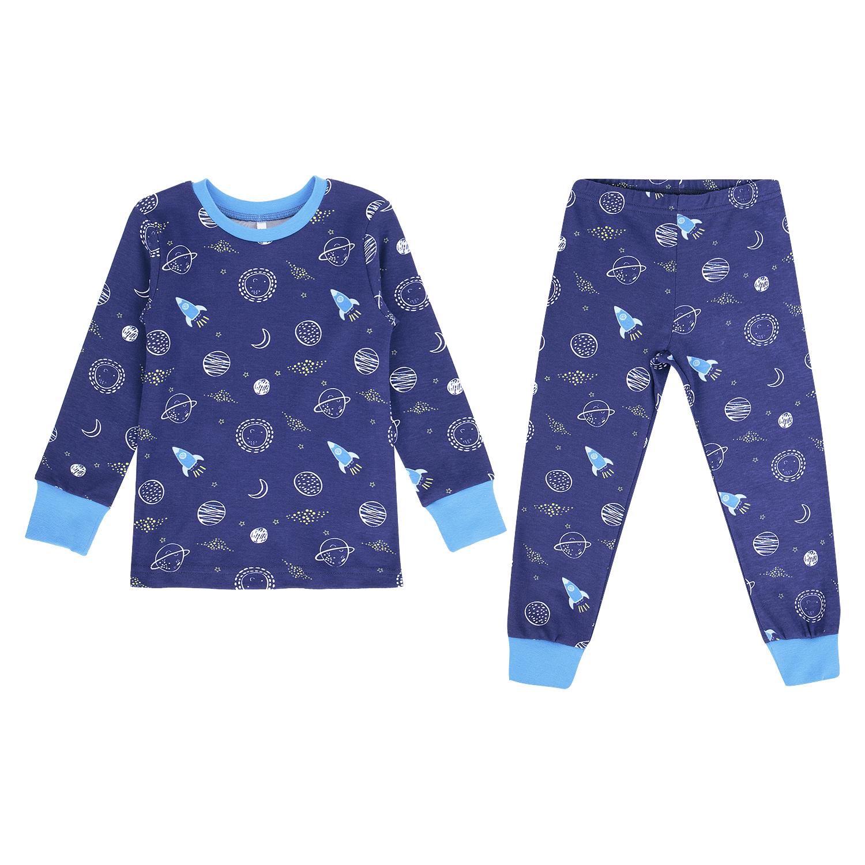 Купить GL001055340, Пижама джемпер/брюки Leader Kids Маленький космос синий р.110,