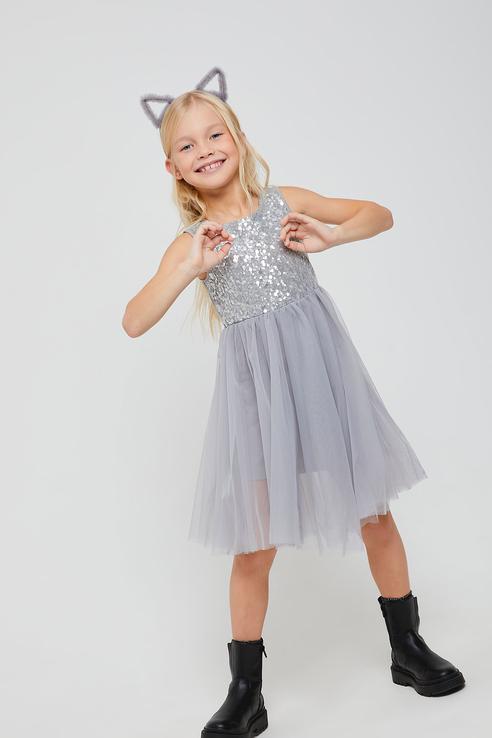 Купить Нарядное платье с пайетками Sela 08120407600 цв. серый р. 98,