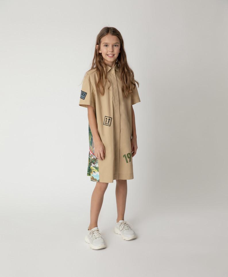 12108GJC2501, Платье бежевое с принтом Gulliver цв. бежевый 134,  - купить со скидкой